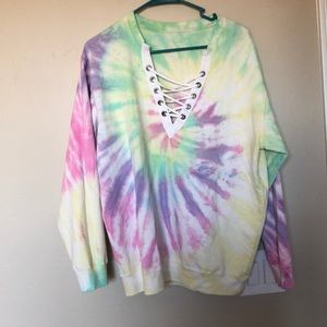 Sweaters - 💚💚Tye dye sweater with front lace